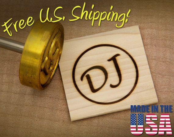 """Branding Iron - 2"""" Round Custom Initials with Ring for Wood"""