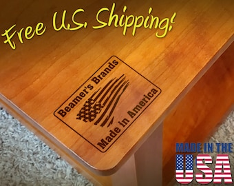 """Branding Iron - 2"""" x 1.5"""" Custom Text """"Made in America"""" with American Flag for Wood or Leather"""