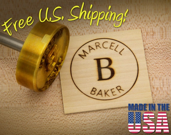 """Branding Iron - 2"""" Round Custom Text w/Initials & Outline for Wood"""