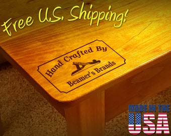 """Branding Iron - 3"""" x 1.5"""" Custom Text """"Hand Crafted By"""" with Hand Plane for Wood or Leather"""