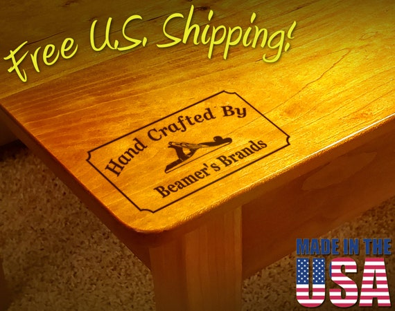 """Branding Iron - 3"""" x 1.5"""" Custom Text """"Hand Crafted By"""" with Hand Plane for Wood"""