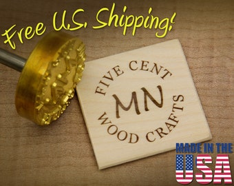 """Branding Iron - 2"""" Round Custom Text w/Initials for Wood or Leather"""