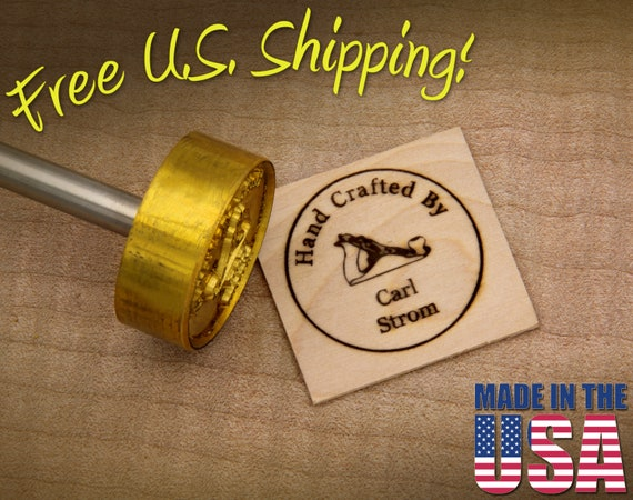 """Branding Iron - 1.5"""" Round Custom Text """"Hand Crafted By"""" with Hand Plane for Wood"""