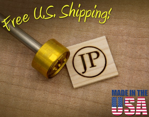 """Branding Iron - 1"""" Round Custom Initials with Ring for Wood"""