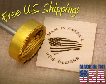 """Branding Iron - 2"""" Round Custom Text """"Made in America"""" with American Flag for Wood or Leather"""