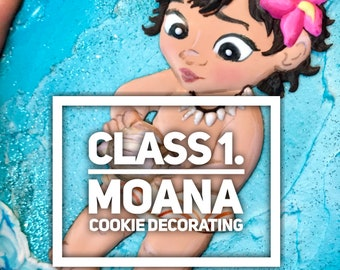 Online video class:  realitic Moana cookies. Step-by-step video class.