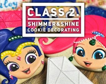 Online video class: Shimmer and Shine cookies. Step-by-step video class.