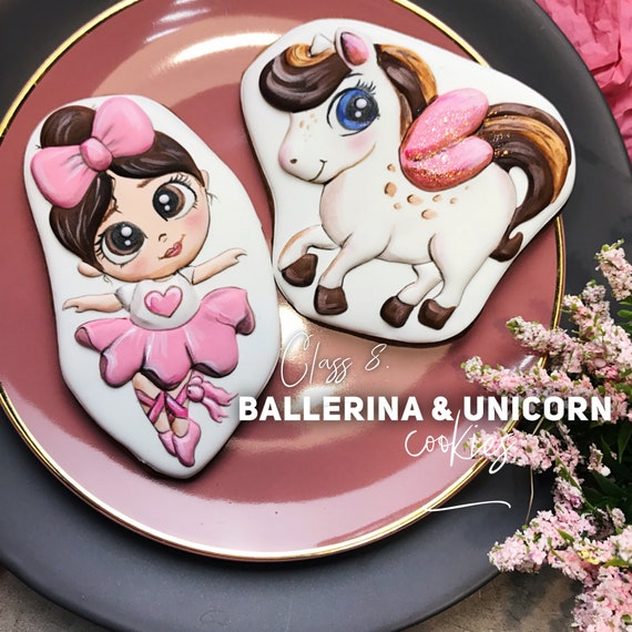 Online video class: Ballerina and Unicorn cookies. Step-by-step video class.
