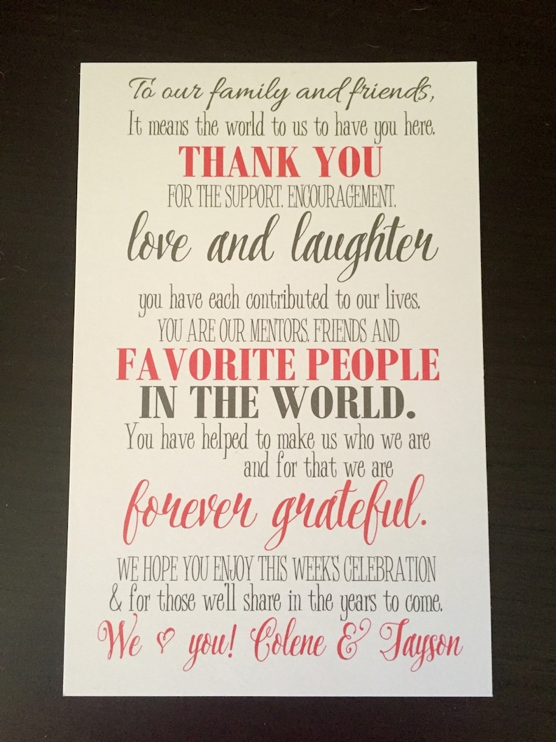 Item Number KGP010008 Personalized Welcome Letter Set of 10 Thank You Card Destination Wedding Welcome Bags