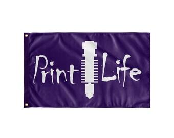 Wall Flag - Print Life Purple, 3D Printing