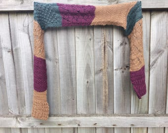 Wool Alpaca Merino Silk Hand Knit Color Block Scarf