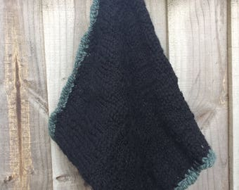 Wool Hand Knit Crochet Cowl, Snood, Circle Scarf, Infinity Scarf