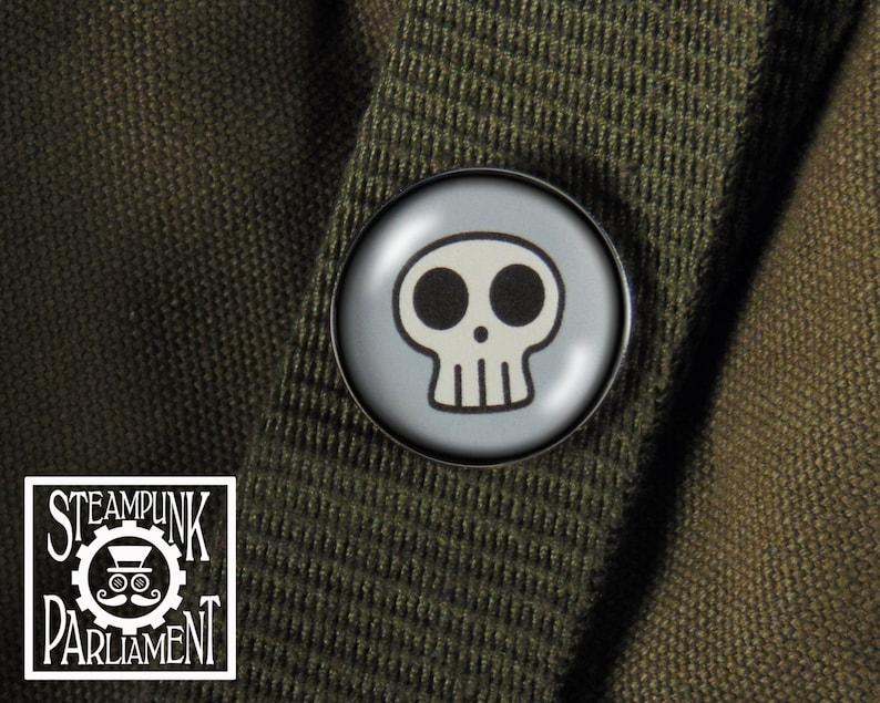 Badass Skull Pin  Goth Steampunk Punk Rockabilly Rocker image 0
