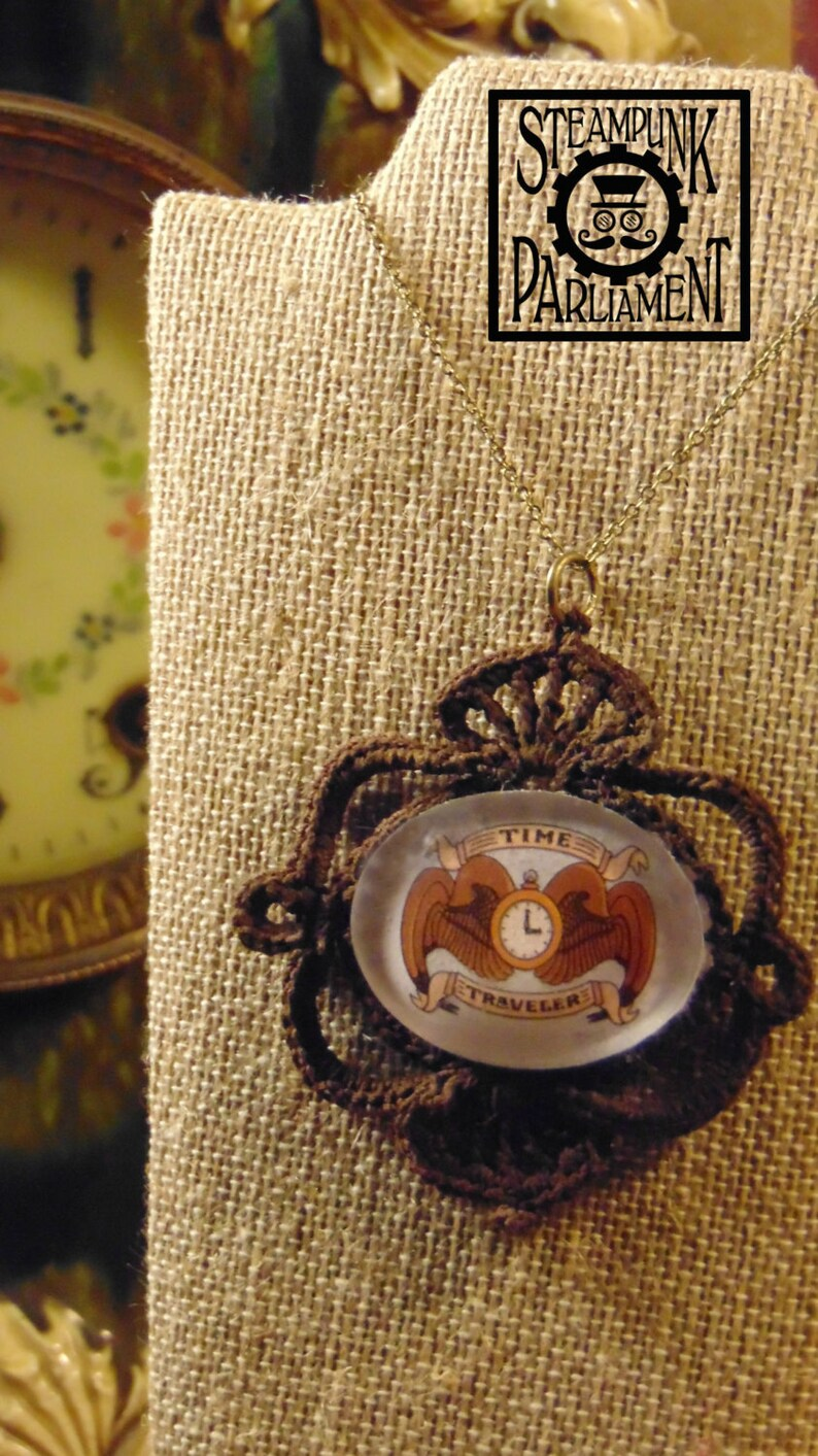 Time Traveler's Crest Lace Cameo Necklace image 0