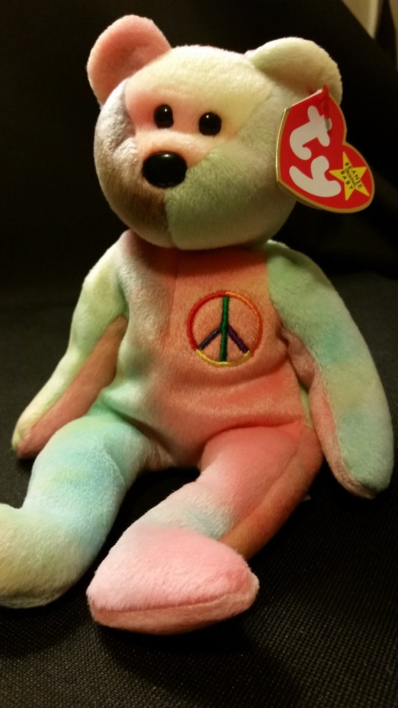 Ty beanie baby PEACE the bear authentic tye-dye one of a  a2ef0124642