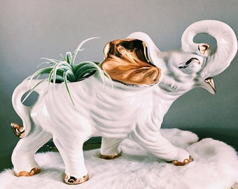 Vintage White + Gold Ceramic Elephant Plant Holder