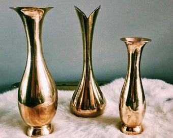 Trio of Vintage Brass Single Bud Vases / Brass Flower Vases