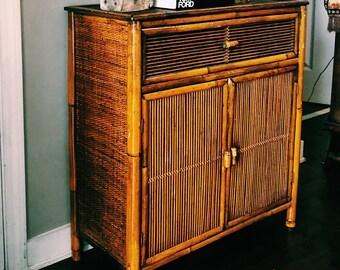 Vintage Bamboo Cabinet / Boho Cabinet w/ Shelves + Drawer / Storage
