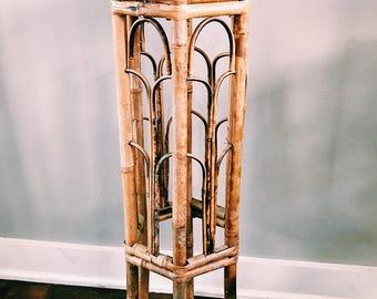 Vintage Hexagon Burnt-Tortoise Bamboo Plant Stand / Small Boho Side Table