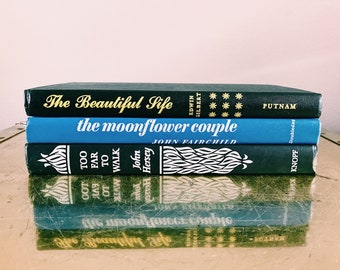 Vintage Trio of Black + Blue Books / Decorative Book Set
