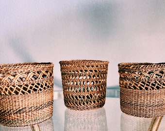 Vintage Trio of Small Woven Rattan Baskets / Set of Three (3) Boho Small Plant Holders