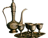 Vintage Six-Piece Etched Brass Dallah Matching Cordial Set w Tray Hollywood Regency Bar Cart Decor