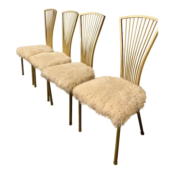 Cool Vintage Set Of Four 4 Hollywood Regency Gold White Fur Dining Chairs Unemploymentrelief Wooden Chair Designs For Living Room Unemploymentrelieforg