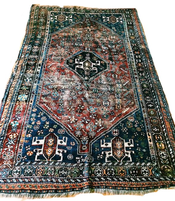 Antique Large Rug: Antique Persian Heriz Style Area Rug / Large Bohemian