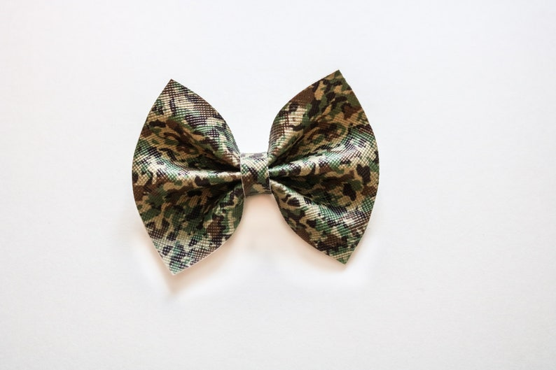 Military Camo Luna and Rowan Bows Faux Leather Nylon Band or Clip