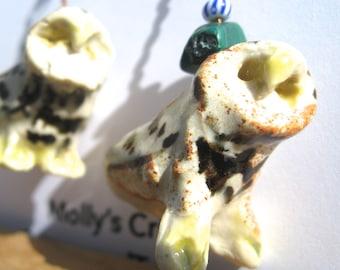 Owl Ceramic Earrings - Barred Owls - Snowy Owls- Pottery Earrings for pierced ears - Stoneware Owls