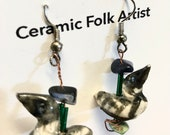 Loon Stoneware Earrings - Common Loon - Call of the Loon- Stoneware Miniature - Hand Painted Loons - Ontario Wildlife