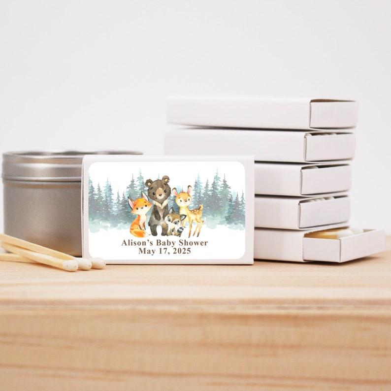 Set of 50 Woodland Animal Favors Forest Animal Baby Shower Baby Shower Matchbox Favors Baby Shower Favors
