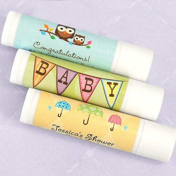 Baby Polka Dot Lip Balm Baby Shower Favor Lip Balm Set of 12 White Tube