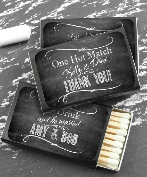Wedding Favor Matches Chalkboard Personalized Match Favors Etsy