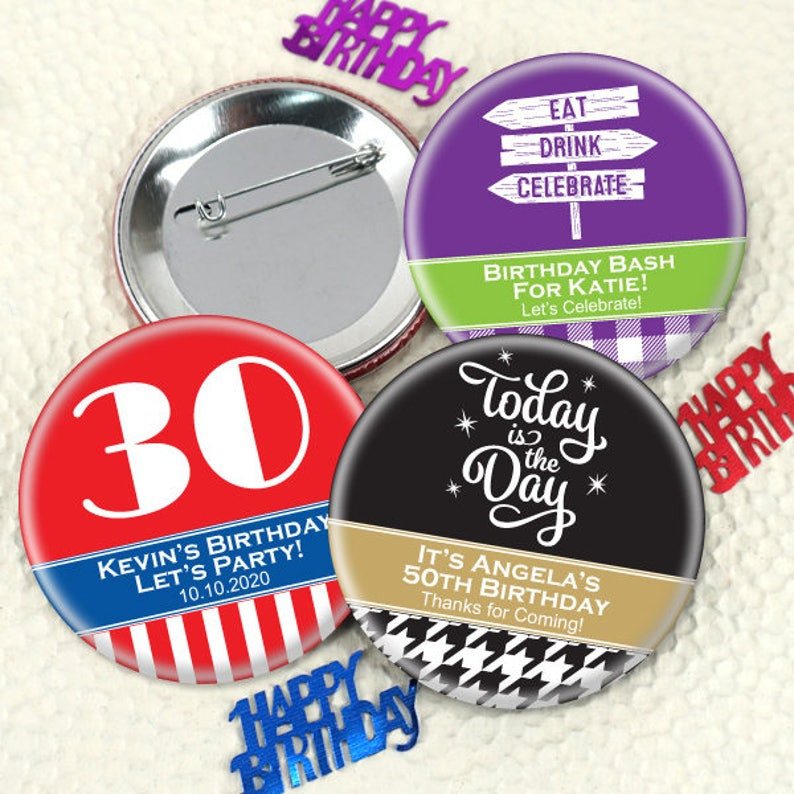 Birthday Favors For Adults Buttons Personalized
