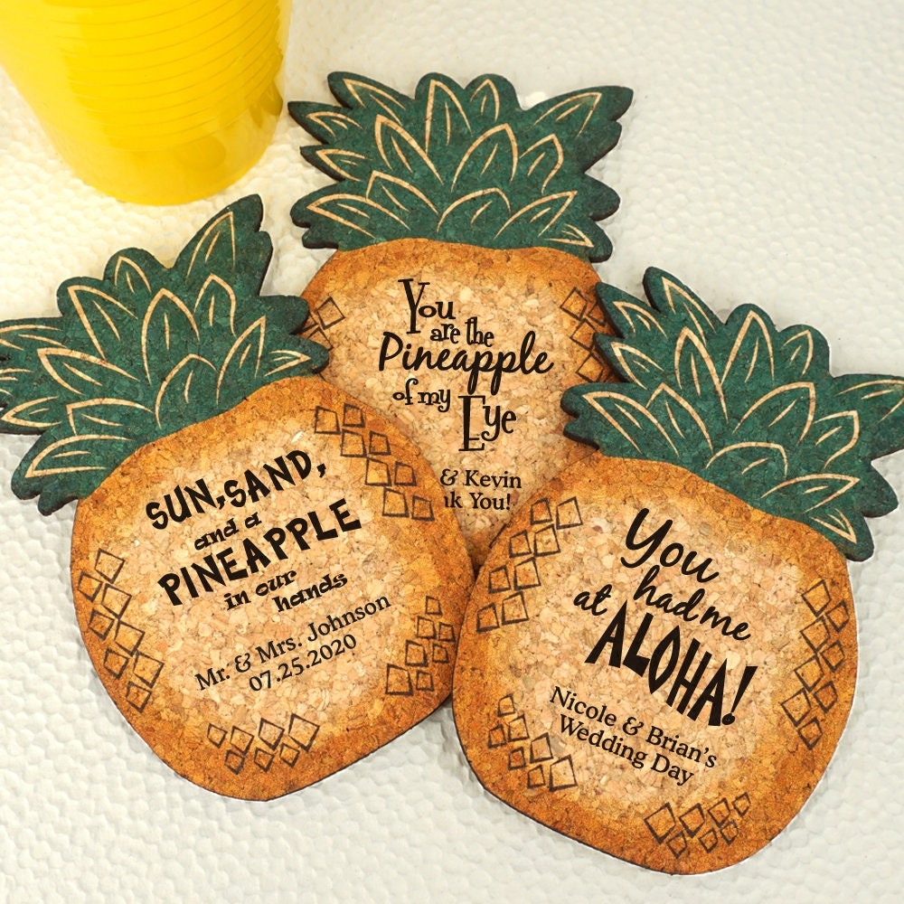 Wedding Cork Coaster: Wedding Favor Coasters Personalized Pineapple Shaped Cork