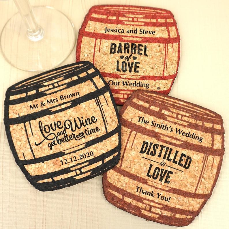 Wedding Favors Coaster.Wedding Favor Coasters Personalized Oak Barrel Shaped Cork Coaster Cork Coaster Wedding Favors Set Of 12