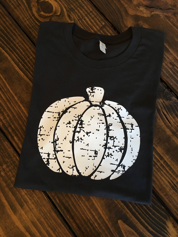 Free Shipping Distressed Pumpkin T Shirt Custom Shirts Etsy