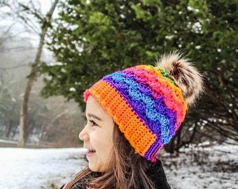 94a9c0954b9 Crochet Hat-Winter Hat-Kids to adult-rainbow color Hat-Ready to ship