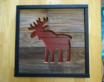 "Moose Nursery animal wall decor 15"" x 15"" Reclaimed Wood"