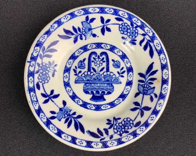 Vintage 1930s Blue Delph Pattern Butter Pat Dish James M Shaw Co
