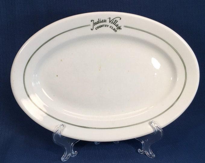 "Vintage 1920s Indian Village Country Club Kansas City Missouri Restaurant Ware 12 1/4"" Oval Platter Shenango China"
