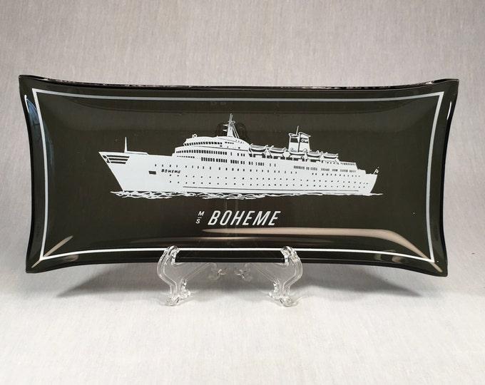Motor Ship Boheme WALLENIUS LINES Commodore Cruise Lines Souvenir Smoke Glass Trinket Tray 1970s