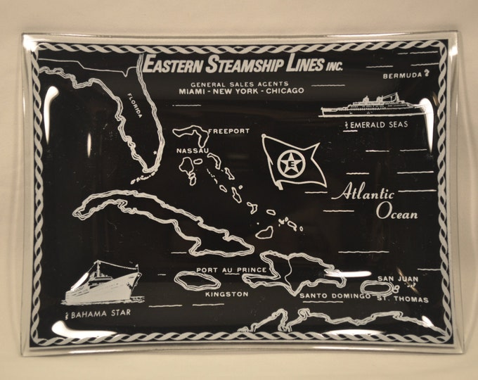 Eastern Steamship Lines Bahama Star Emerald Sea Cruise Ships Black Glass Tray