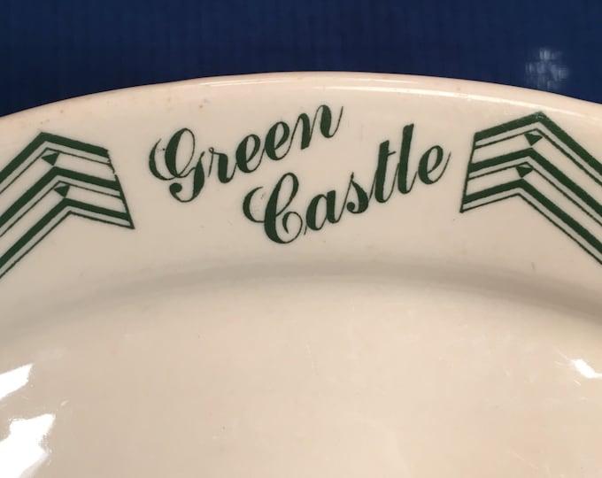 "Green Castle Serving Platter 10-1/2"" x 7"" by Santone Warwick China 1939"