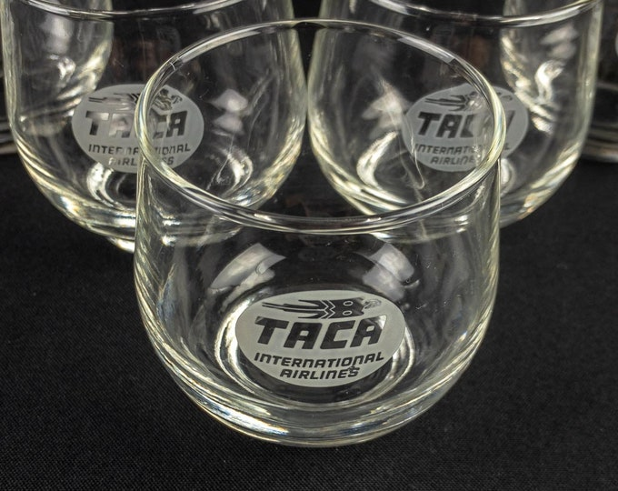 Set of 5 FIVE TACA International Airlines Etched First Service Liquor Glass Circa 1990s