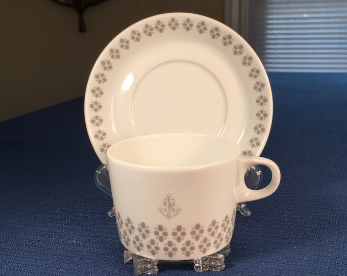 Hamburg America Line Hapag Shipping Company Cup and Saucer Hutschen Reuthen Germany Novem 1970s
