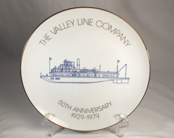 The Valley Line Company Towboat Boat Riverboat 50th Anniversary Plate now a part of American Commercial Line ACL