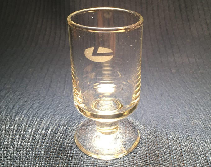 Scarce LADECO Airlines (Línea Aérea Del Cobre) Chile Small Footed Cordial Glass with Logo 1980s