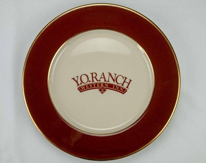 Y O Ranch Western Inn Hotel Kerrville Texas Restaurant Ware Service Plate 11 inch diameter Circa 1984